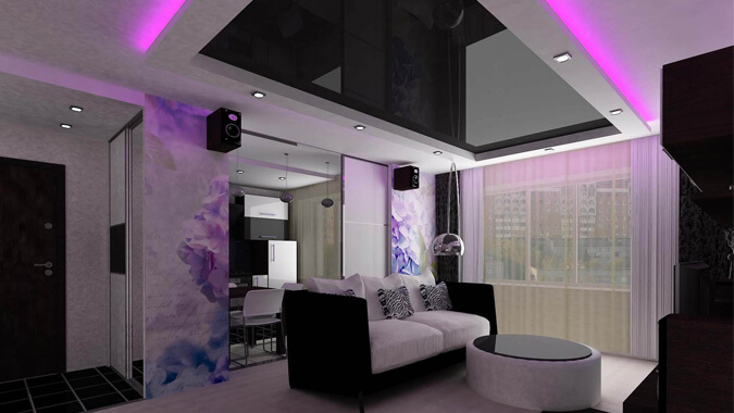Чёрный натяжной потолок в стиле техно