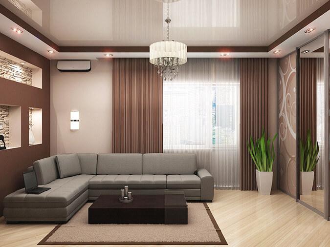 Хороший дизайн в гостинную в светлых тонах
