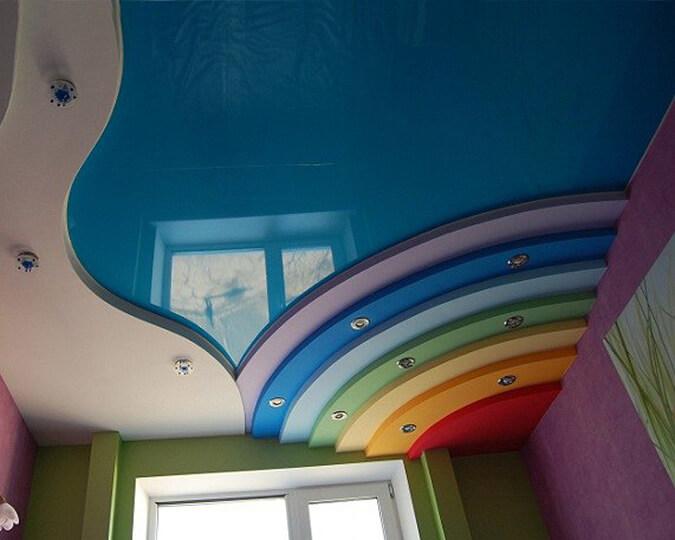Многоуровневый потолок радуга