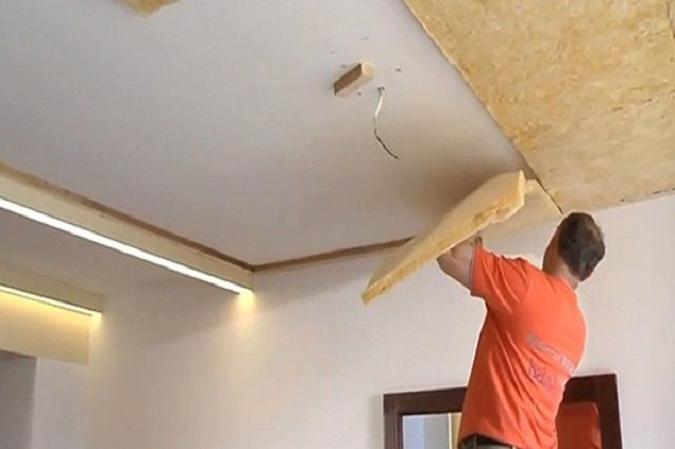 Монтаж натяжного потолка со звукоизоляцией