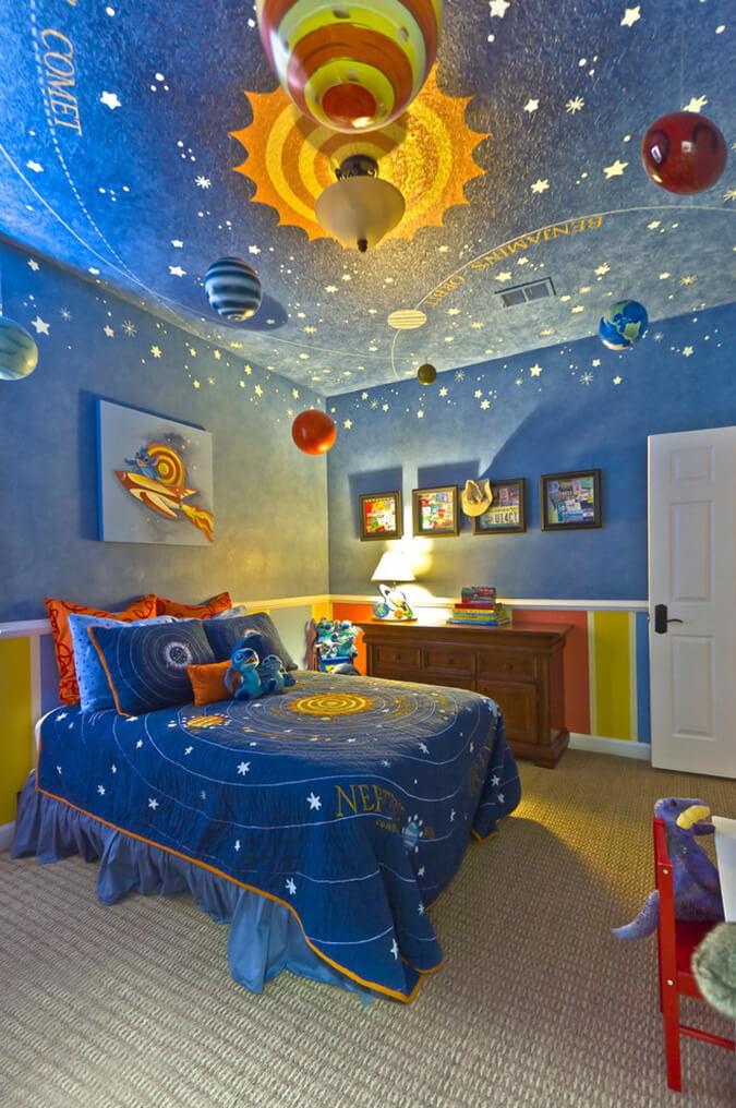 Натяжной потолок космос для мальчика