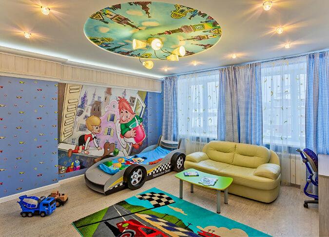 Натяжной потолок с детскими рисунками