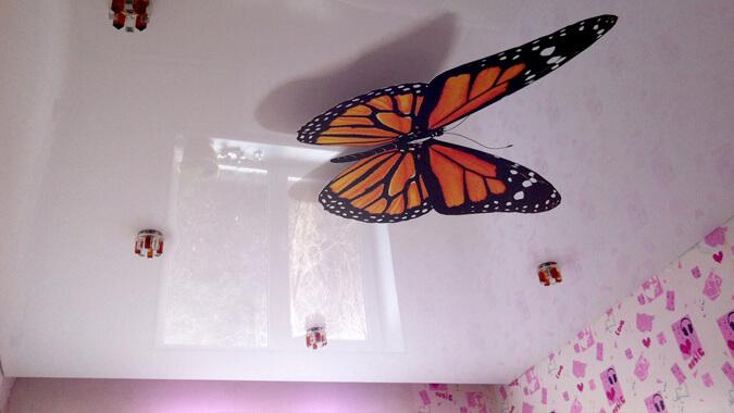 3Д натяжной потолок бабочка - фотопечать