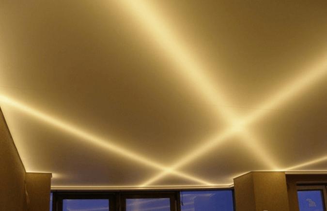 Светодиодные лента под натяжным потолком