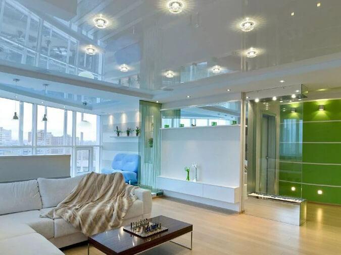 Натяжной потолок вместе с оригинальным дизайном